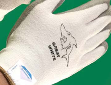 Great White Gloves logo on gloves